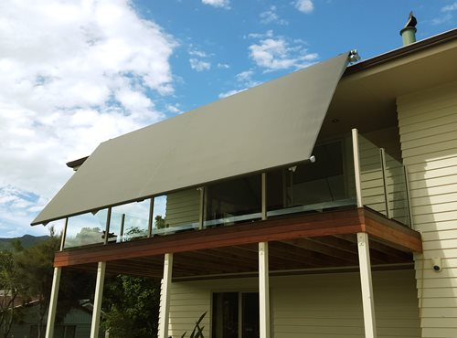 Euro Retractable awning open over balcony
