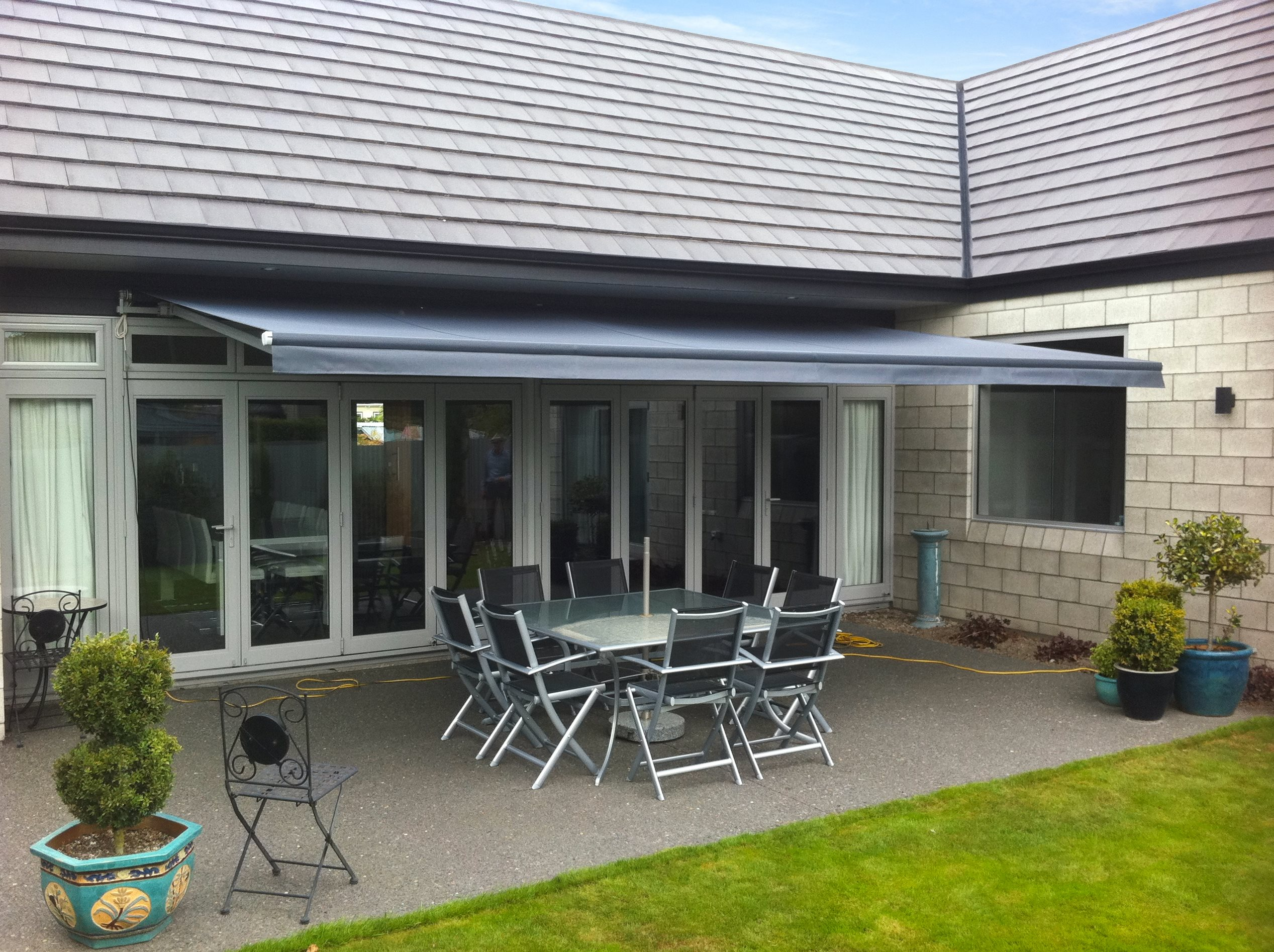 Euro Retractable awning open over dining table