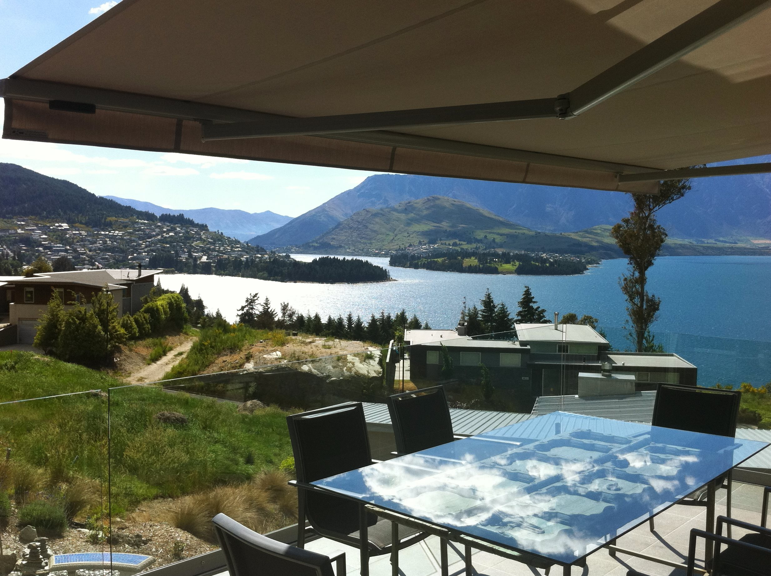 Euro awning open over balcony looking over Queenstown