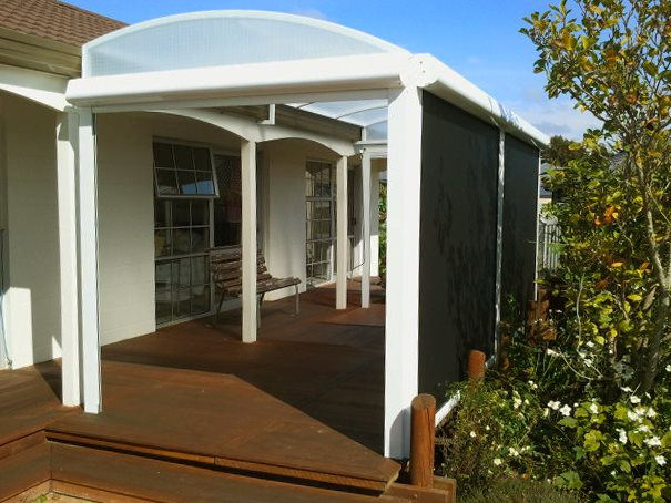 Awnings shading porch