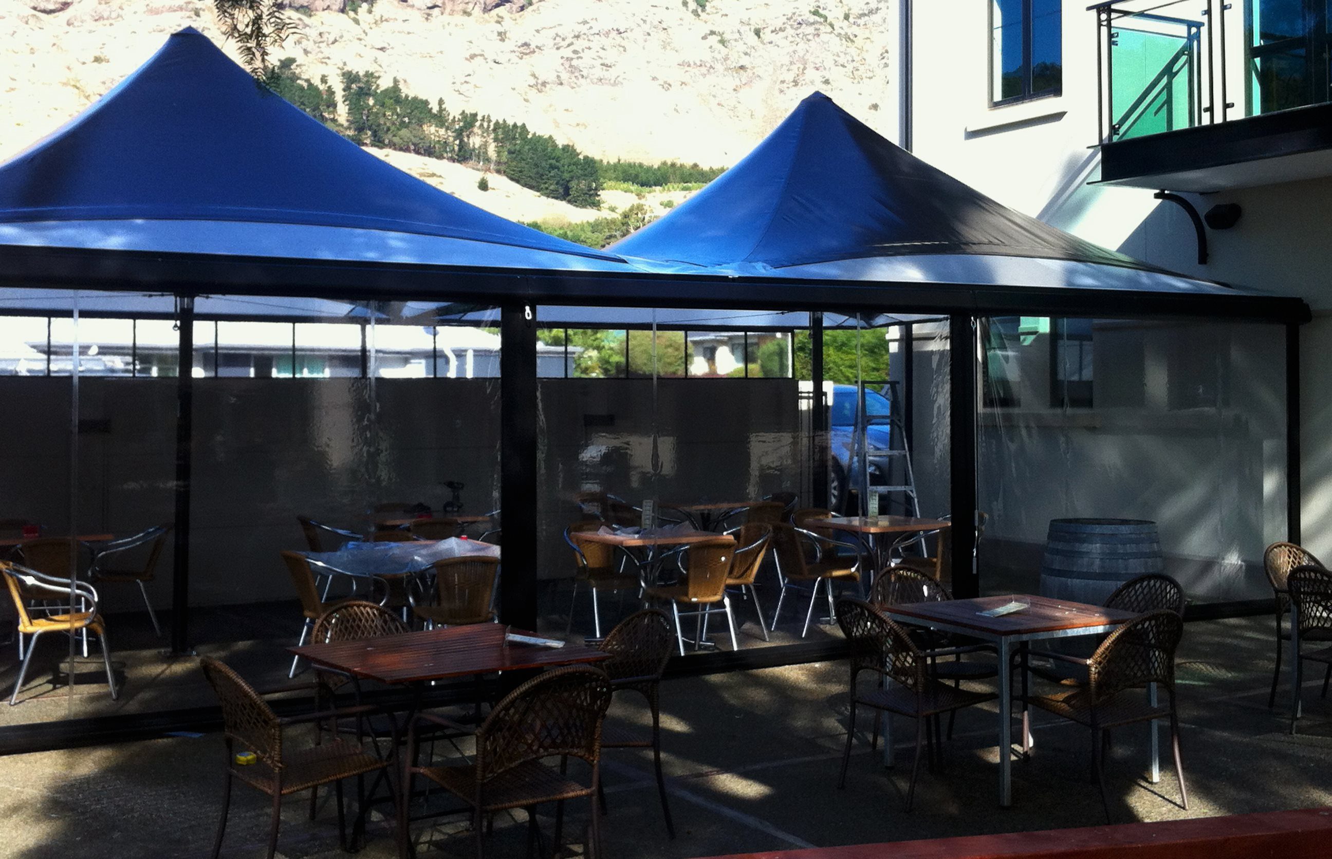 Parasol Umbrella providing shade for customers at the Valley Inn