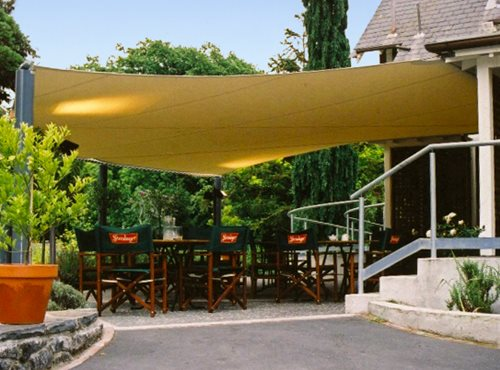 Large Shade Sail shading an outside dining area at a restaurant